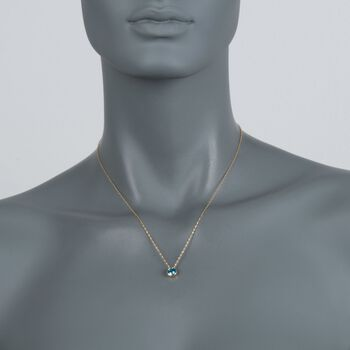 1.00 Carat Bezel-Set Blue Topaz Necklace in 14kt Yellow Gold. 18""