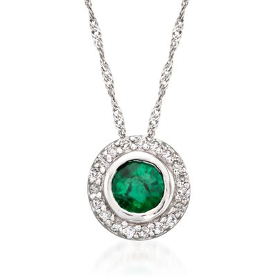 .40 Carat Emerald and .10 ct. t.w. Diamond Pendant Necklace in 14kt White Gold, , default