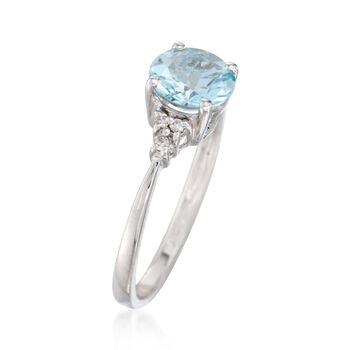 1.00 Carat Aquamarine Ring with Diamonds in 14kt White Gold , , default
