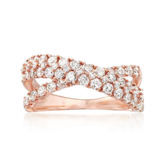 1.25 ct. t.w. Diamond Double Crisscross Ring in 14kt Rose Gold, , default