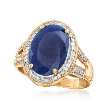 5.50 Carat Sapphire Ring with .24 ct. t.w. Diamonds in 14kt Yellow Gold, , default