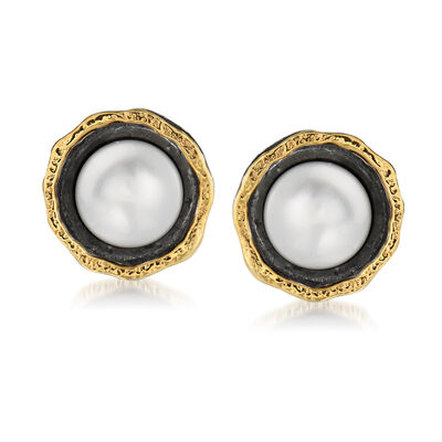 8.5-9mm Cultured Button Pearl Stud Earrings in Sterling Silver and 14kt Yellow Gold