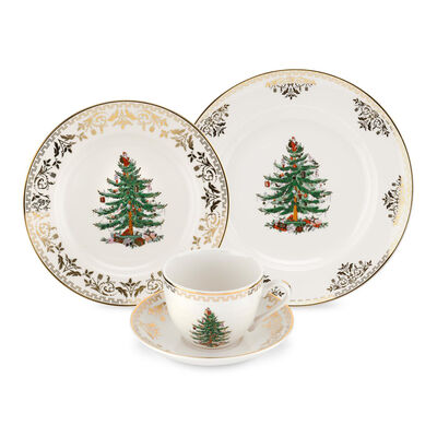 """Spode """"Christmas Tree Gold"""" 4-pc. Place Setting"""