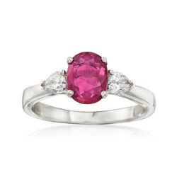 C. 2000 Vintage Platinum Ruby and Diamond Ring, , default