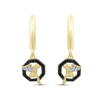 .12 ct. t.w. Black and White Diamond Angel Drop Earrings in 18kt Yellow Gold Over Sterling Silver, , default