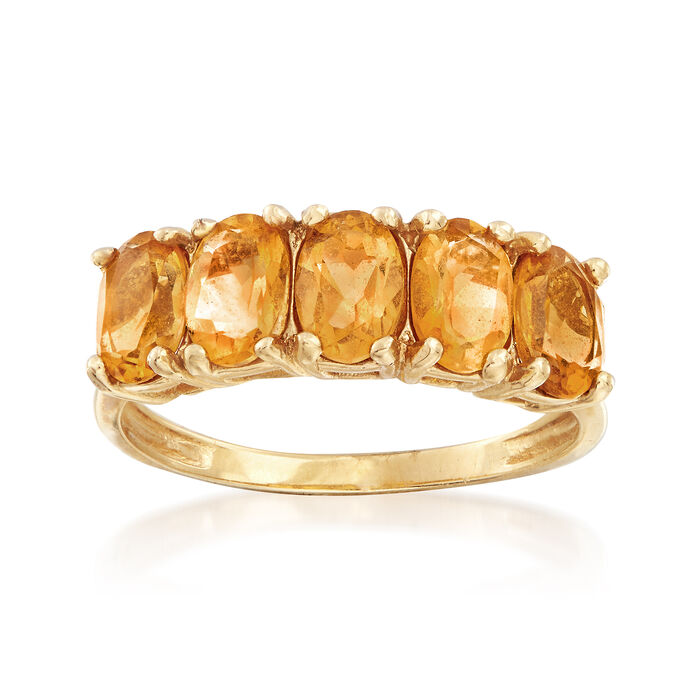 C. 1980 Vintage 2.00 ct. t.w. Citrine Ring in 10kt Yellow Gold. Size 7