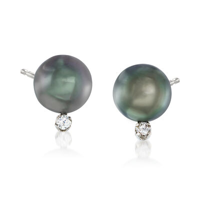 8-9mm Black Cultured Tahitian Pearl Earrings with .10 ct. t.w. Diamonds in 14kt White Gold, , default