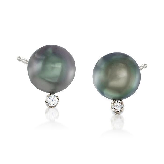 8-9mm Black Cultured Tahitian Pearl Earrings with .10 ct. t.w. Diamonds in 14kt White Gold