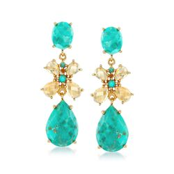 4.50 ct. t.w. Citrine and Turquoise Drop Earrings in 18kt Gold Over Sterling, , default