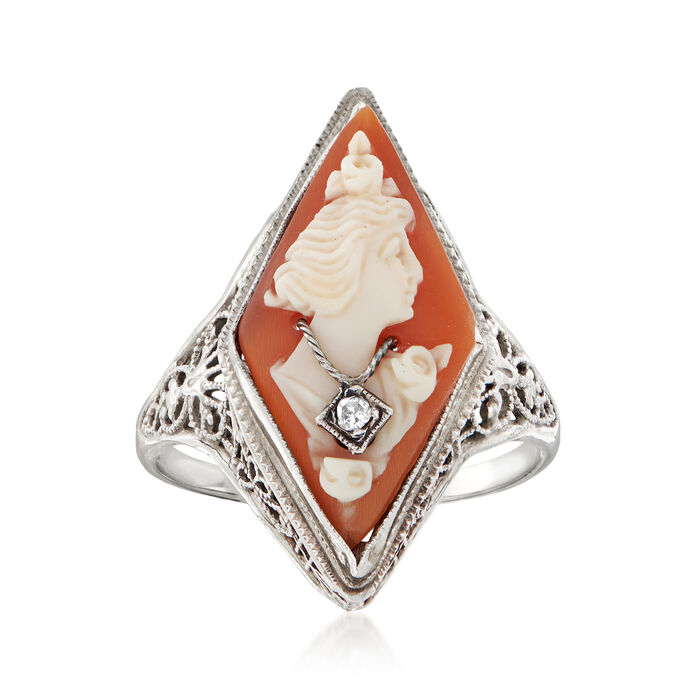 C. 1950 Vintage Diamond-Accented Cameo Ring in 14kt White Gold. Size 5.5