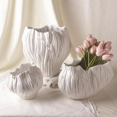 Set of 3 Piriform White Ceramic Vases, , default