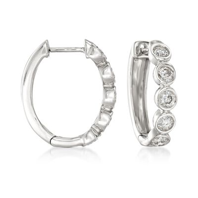 1.00 ct. t.w. Bezel-Set Diamond Hoop Earrings in 14kt White Gold, , default