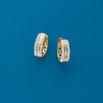 """.50 ct. t.w. Baguette and Round Diamond Huggie Hoop Earrings in 14kt Yellow Gold. 3/8"""""""