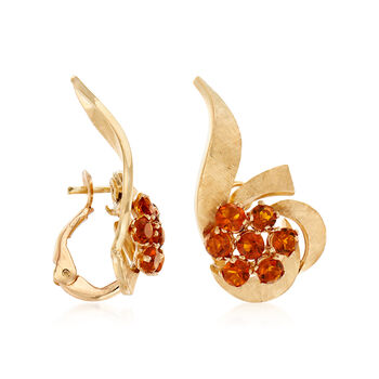 C. 1960 Vintage 1.50 ct. t.w. Citrine Cluster Earrings in 14kt Yellow Gold, , default
