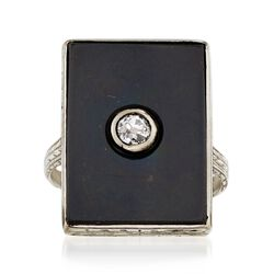 C. 1920 Vintage Black Onyx and .10 Carat Diamond Ring in 18kt White Gold. Size 4, , default