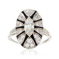 C. 1990 Vintage 1.91 ct. t.w. Diamond and Black Onyx Ring in Platinum, , default