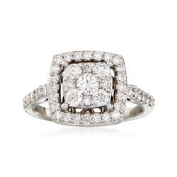 C. 1990 Vintage 1.10 ct. t.w. Diamond Mosaic Halo Ring in 14kt White Gold. Size 7, , default