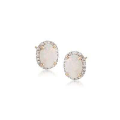 Oval Opal and .14 ct. t.w. Diamond Earrings in 14kt Yellow Gold