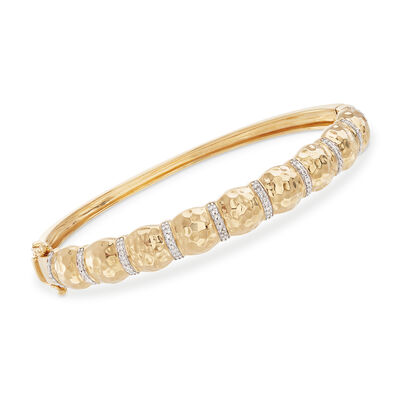 .14 ct. t.w. Diamond Hammered Bangle Bracelet in 18kt Gold Over Sterling, , default