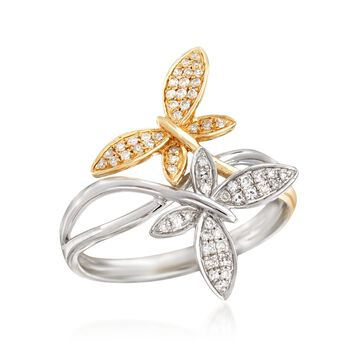 .17 ct. t.w. Diamond Butterfly Bypass Ring in 14kt Two-Tone Gold. Size 6, , default