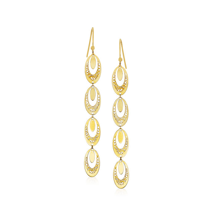 Italian 14kt Yellow Gold Open-Oval Filigree Linear Drop Earrings, , default