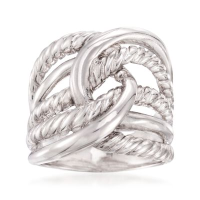 Italian Sterling Silver Roped Knot Ring, , default
