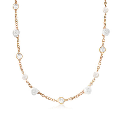 C. 1990 Vintage Mimi Milano 8mm Cultured Pearl, 9.5mm White Agate and 8mm Rock Crystal Flower Necklace in 18kt Rose Gold