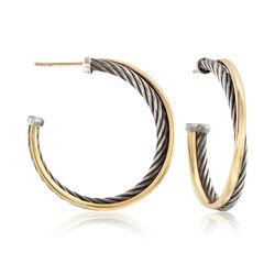 """C. 2000 Vintage David Yurman Sterling Silver and 18kt Gold Hoop Earrings. 1 1/4"""", , default"""