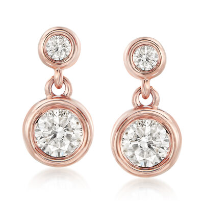 .75 ct. t.w. Diamond Double-Bezel Drop Earrings in 14kt Rose Gold, , default