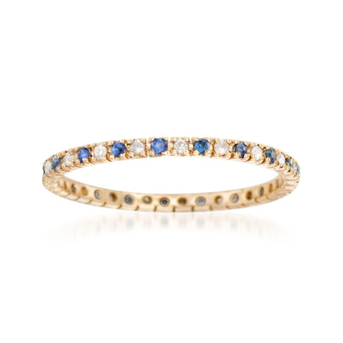 .10 ct. t.w. Sapphire and .14 ct. t.w. Diamond Eternity Band Ring in 14kt Yellow Gold, , default