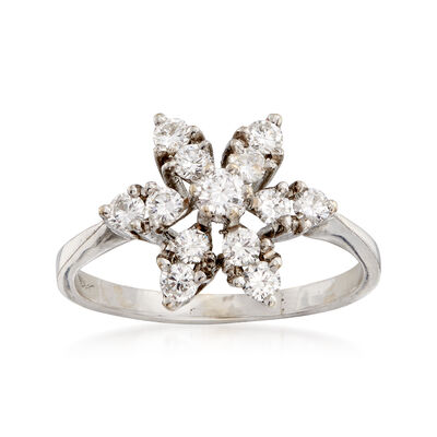 C. 1980 Vintage .75 ct. t.w. Diamond Flower Ring in 18kt White Gold, , default