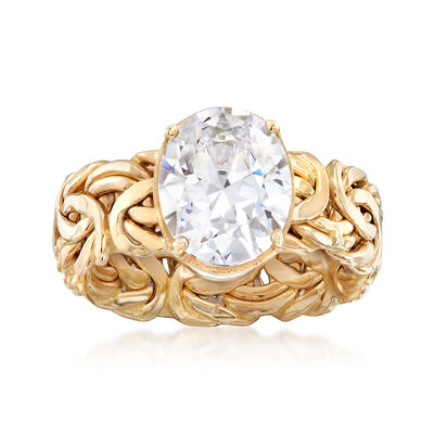4.00 Carat CZ Byzantine Ring in 14kt Yellow Gold, , default