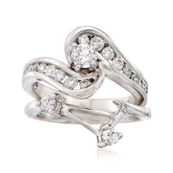 C. 1990 Vintage 1.05 ct. t.w. Diamond Bridal Set: Engagement and Wedding Rings in 14kt White Gold, , default