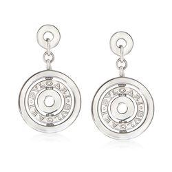 "C. 2000 Vintage Bulgari ""Astrale"" 18kt White Gold Clip-On Circle Drop Earrings , , default"