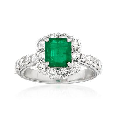 C. 1990 Vintage 1.36 Carat Emerald and 1.32 ct. t.w. Diamond Ring in Platinum