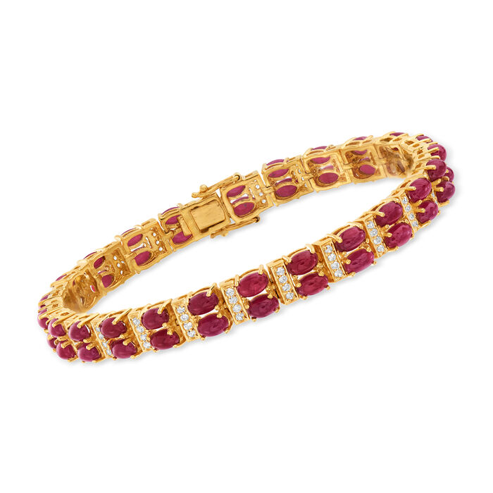 17.00 ct. t.w. Ruby and .70 ct. t.w. White Zircon Double-Row Tennis Bracelet in 18kt Gold Over Sterling, , default