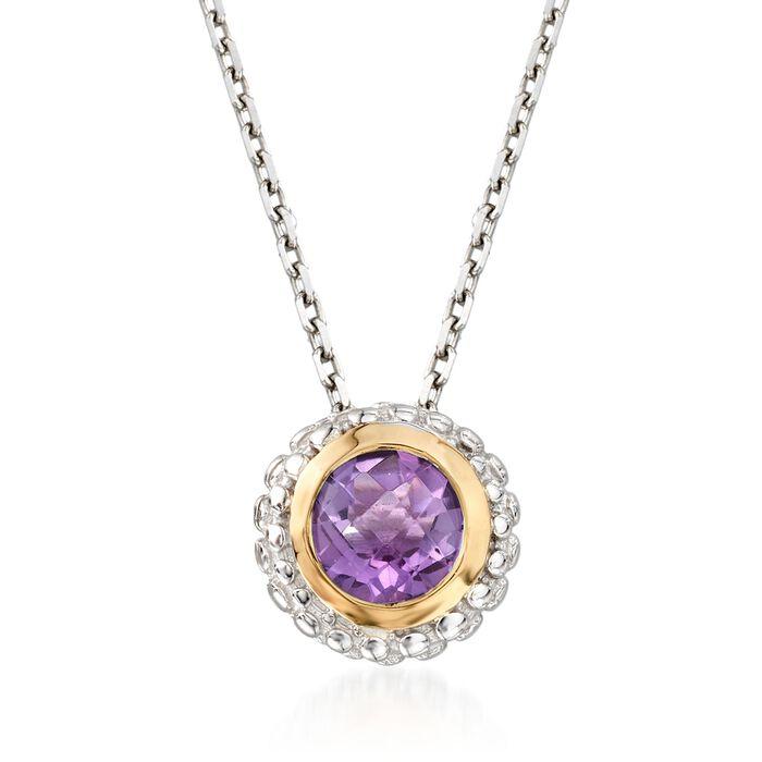 "Phillip Gavriel ""Popcorn"" .36 ct. t.w. Carat Amethyst Pendant Necklace in Sterling Silver and 18kt Gold. 18"", , default"