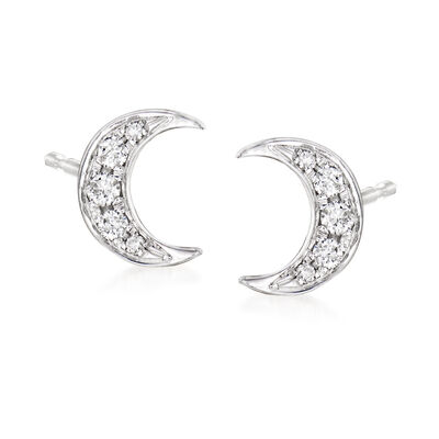 .12 ct. t.w. Diamond Moon Stud Earrings in 18kt Gold Over Sterling