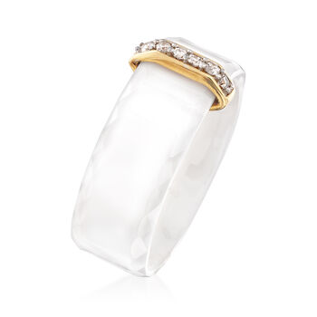 White Ceramic and .10 ct. t.w. Diamond Ring with 14kt Yellow Gold, , default