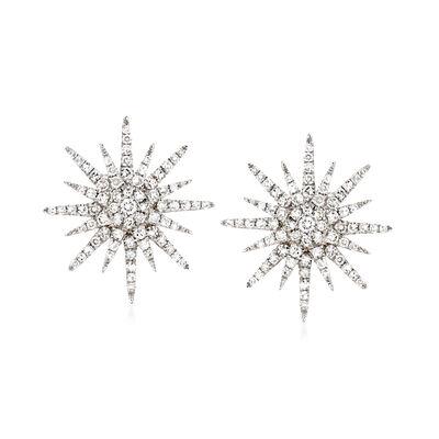 .77 ct. t.w. Diamond Starburst Earrings in 14kt White Gold