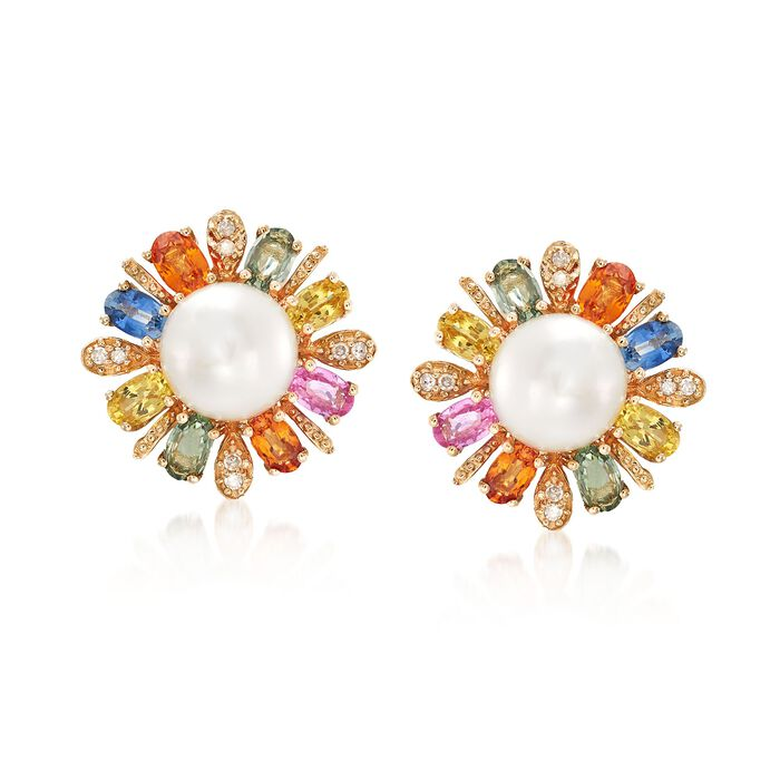 9.5-10mm Cultured Pearl and 5.20 ct. t.w. Multicolored Sapphire Earrings in 14kt Yellow Gold, , default