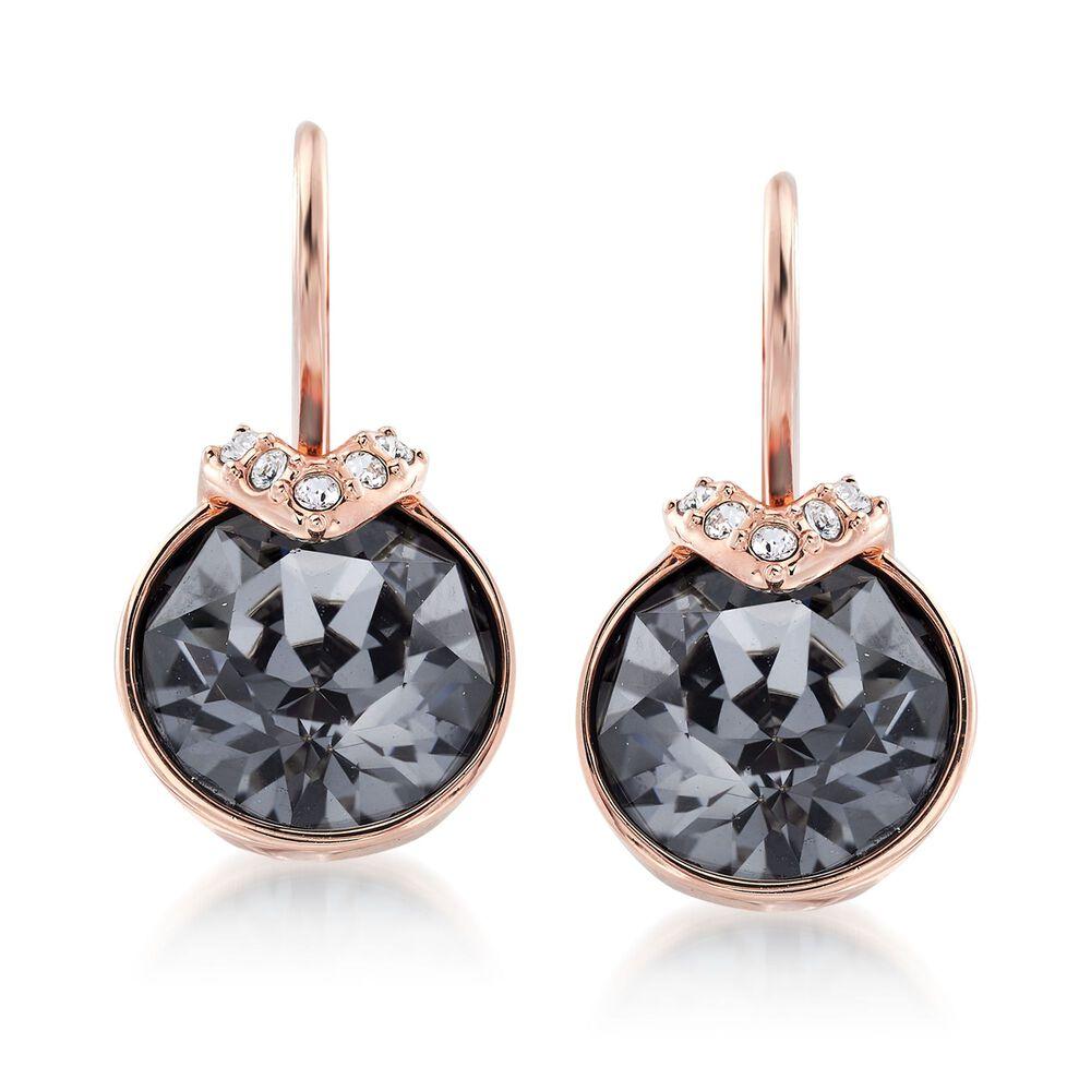 "38c0ea9c7 Swarovski Crystal ""Bella"" Metallic Gray and Clear Crystal Drop  Earrings in Rose Gold"