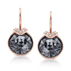 "Swarovski Crystal ""Bella"" Metallic Gray and Clear Crystal Drop Earrings in Rose Gold Plate, , default"