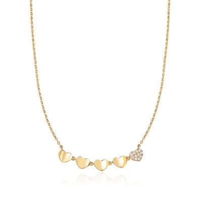 Child's 14kt Yellow Gold Heart Necklace with CZ Accents, , default