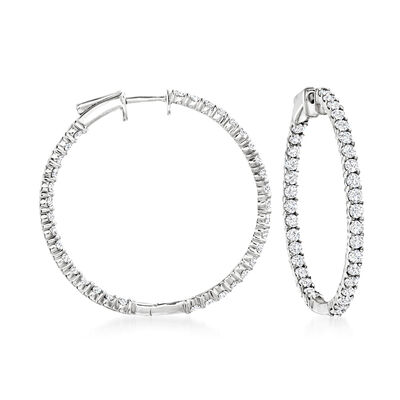 3.00 ct. t.w. Diamond Inside-Outside Hoop Earrings in 14kt White Gold