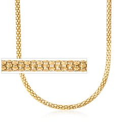 "Italian 6mm 18kt Yellow Gold Over Sterling Silver Reverse Popcorn Chain Necklace. 18"", , default"