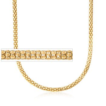 """Italian 6mm 18kt Yellow Gold Over Sterling Silver Reverse Popcorn Chain Necklace. 18"""", , default"""