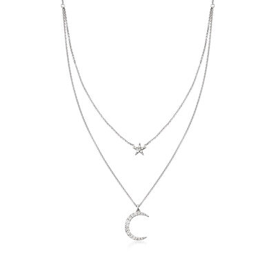 .20 ct. t.w. Diamond Star and Moon Layered Necklace in Sterling Silver