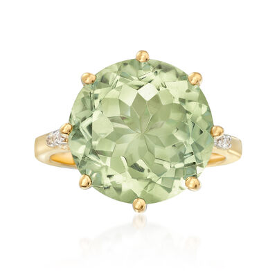 7.50 Carat Green Prasiolite Ring With White Topaz Accents in 14kt Gold Over Sterling, , default