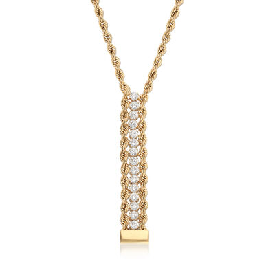 Italian .60 ct. t.w. CZ Y-Necklace in 14kt Yellow Gold, , default